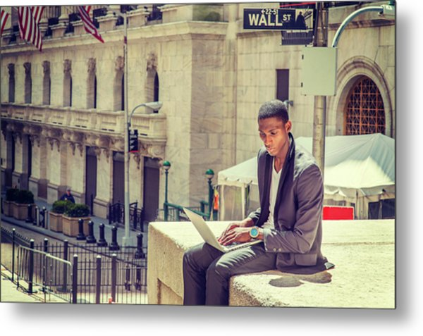 Young African American Man Working On Wall Street In New York Metal Print