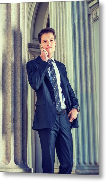 Metal Print featuring the photograph Young Businessman Working In New York 15042513 by Alexander Image