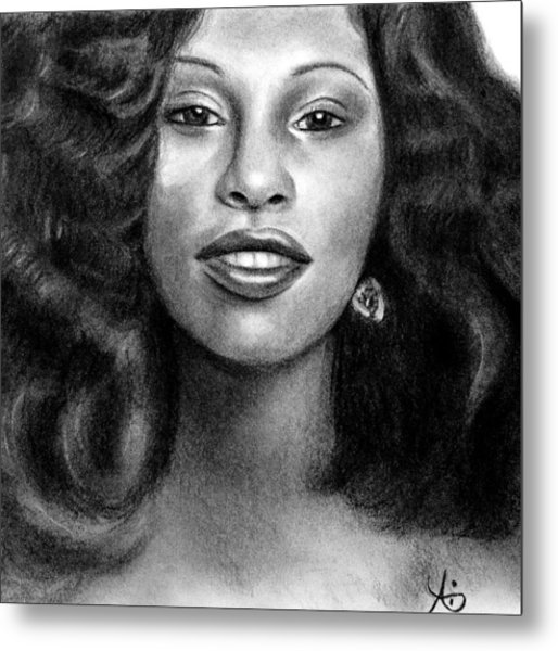 Young Chaka Khan - Charcoal Art Drawing Metal Print