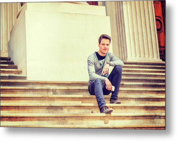 Metal Print featuring the photograph Young College Student On Campus 15042514 by Alexander Image