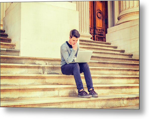 Metal Print featuring the photograph Young College Student Studying In New York 15042516 by Alexander Image