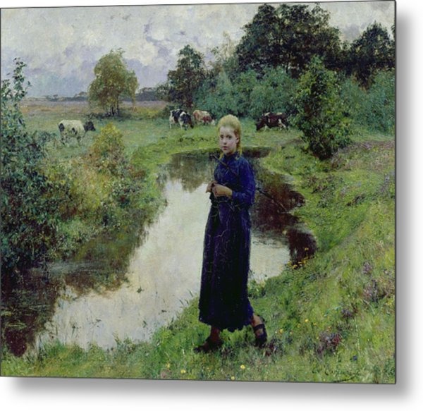 Young Girl In The Fields Metal Print