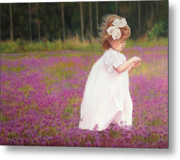 Young Girl Picking Flowers Metal Print