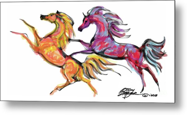 Young Horses Playing Metal Print