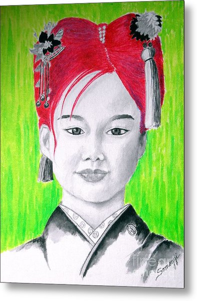 Young Japanese Beauty -- The Original -- Portrait Of Japanese Girl Metal Print