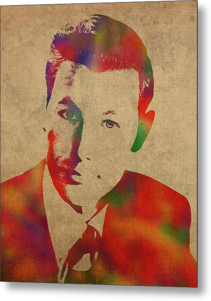 Young Johnny Carson Watercolor Portrait Metal Print
