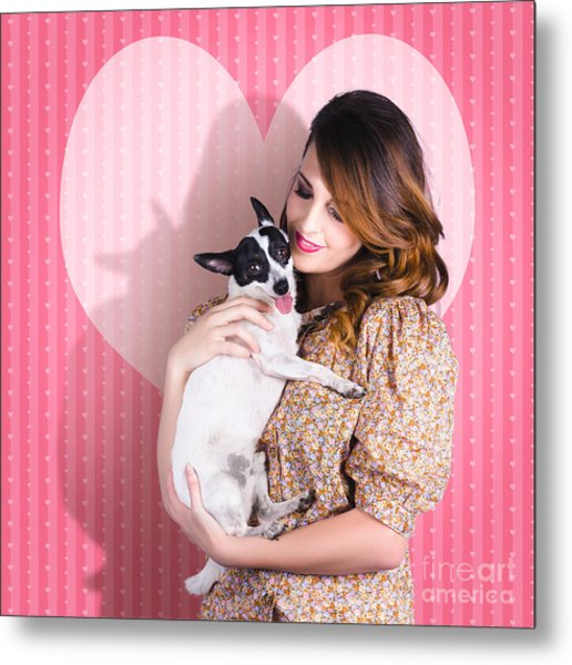 Young Loving Woman Holding Cute Small Pet Dog Metal Print