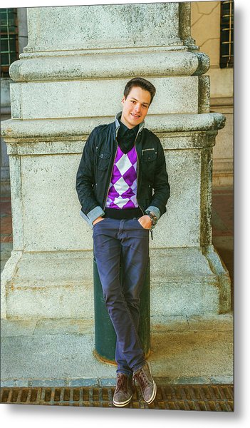 Metal Print featuring the photograph Young Man Casual Fashion In New York 15042519 by Alexander Image