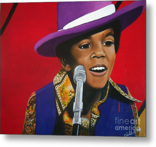 Young Michael Jackson Singing Metal Print