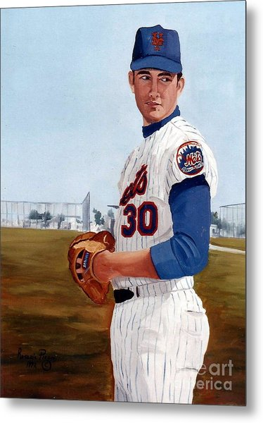 Young Nolan Ryan - With Mets Metal Print