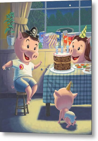 Young Pig Birthday Party Metal Print