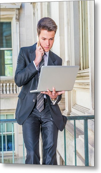 Metal Print featuring the photograph Young School Boy Working Remotely 15042510 by Alexander Image