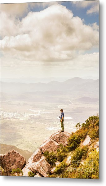 Young Traveler Looking At Mountain Landscape Metal Print