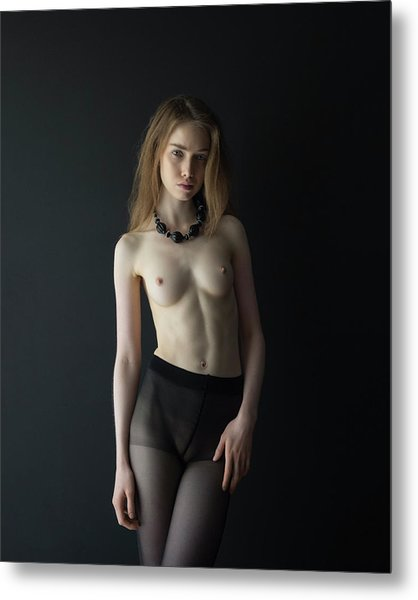 Young Woman In Front Of Black Wall Metal Print