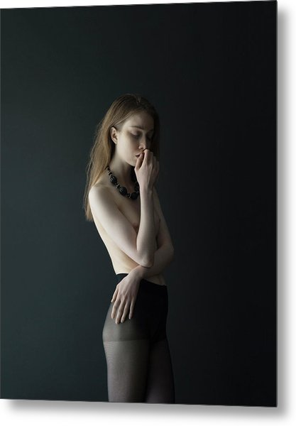 Young Woman In Pantyhose Metal Print