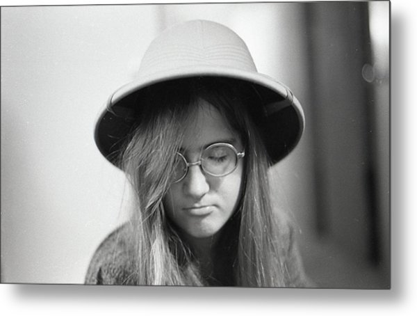 Young Woman With Long Hair, Wearing A Pith Helmet, 1972 Metal Print