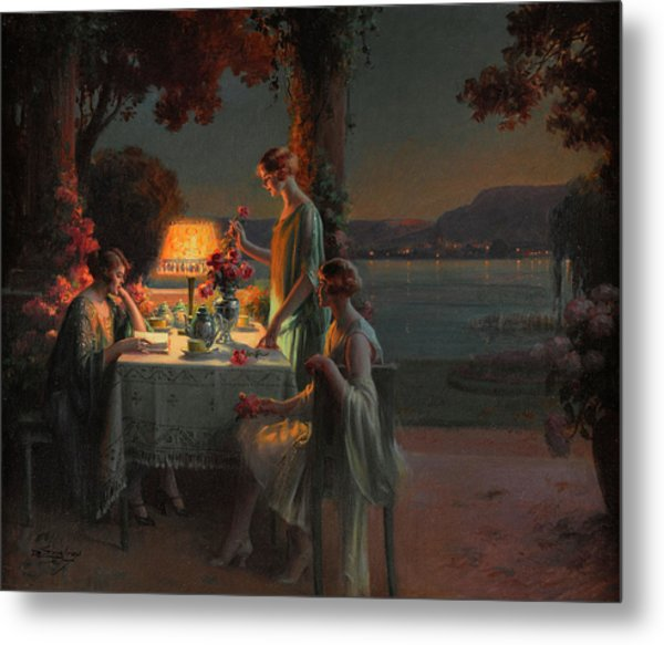 Young Women By The Lake Metal Print