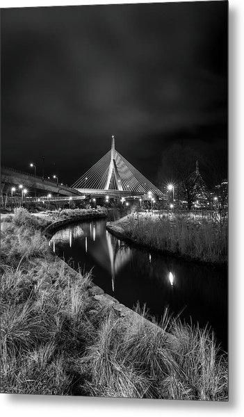 Zakim Bridge Reflecting Under A Moody Sky Metal Print