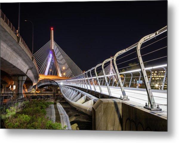 Zakim Bridge Walkway Metal Print