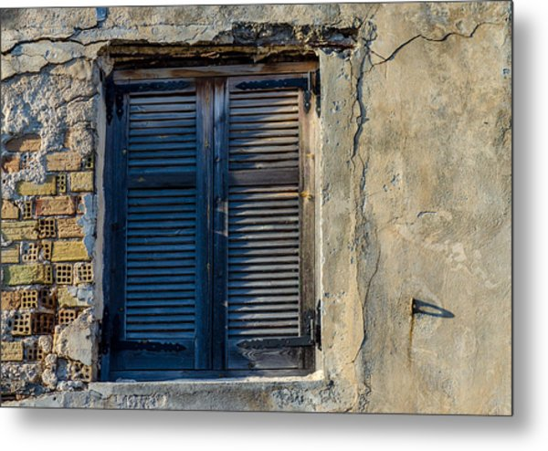 Zakynthos Town Window Metal Print