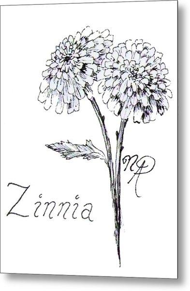 Zannie Zinnia Metal Print