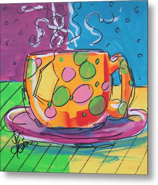 Zany Teacup Metal Print