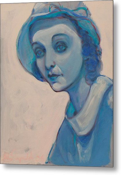 Zasu In Blue Metal Print