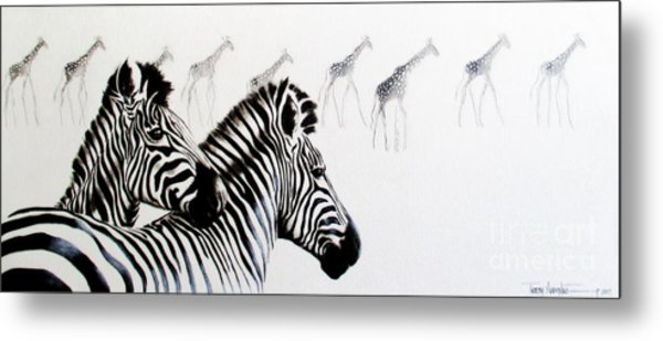 Zebra And Giraffe Metal Print