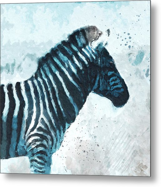 Zebra- Art By Linda Woods Metal Print