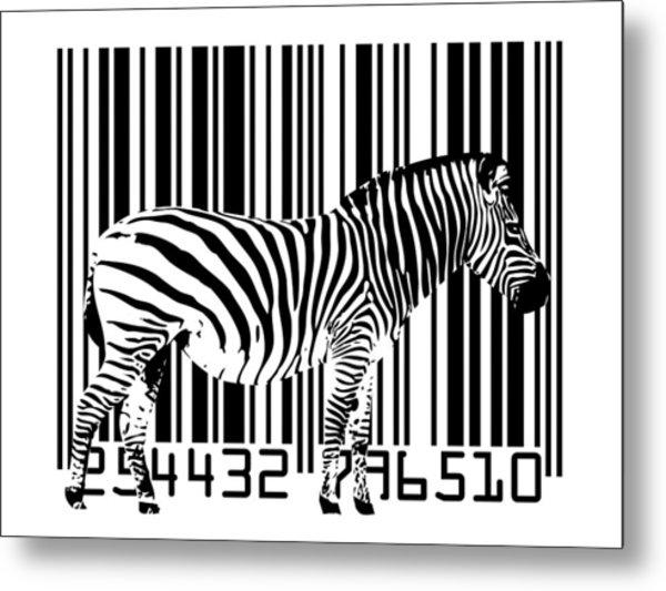 Zebra Barcode Metal Print