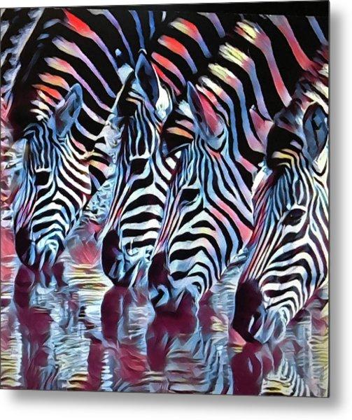 Zebra Dazzle Metal Print