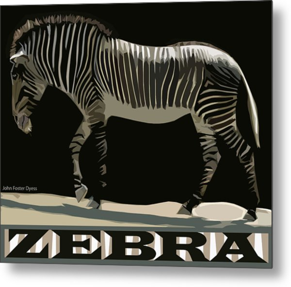 Zebra Design By John Foster Dyess Metal Print
