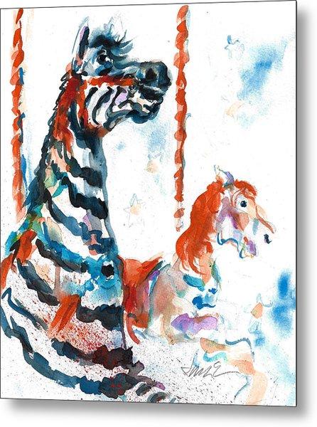 Zebra Gets A Ride The Ocean City Boardwalk Carousel Metal Print