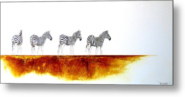 Zebra Landscape - Original Artwork Metal Print