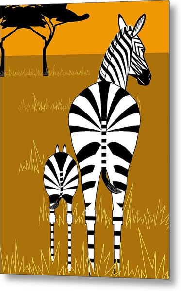 Zebra Mare With Baby Metal Print