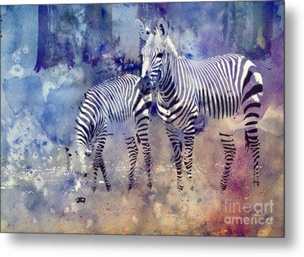 Zebra Paradise Metal Print