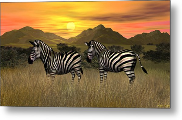 Zebra Sunset Metal Print