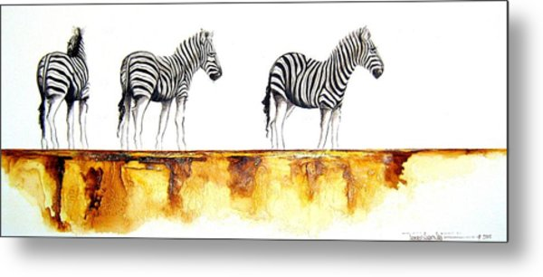 Zebra Trio - Original Artwork Metal Print