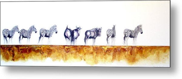 Zebras And Wildebeest 2 Metal Print