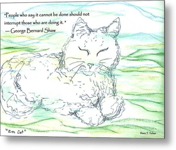 Zen Cat Metal Print