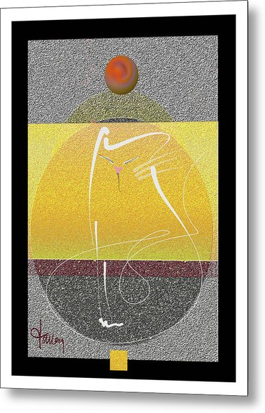 Metal Print featuring the mixed media Zen Cat by Larry Talley