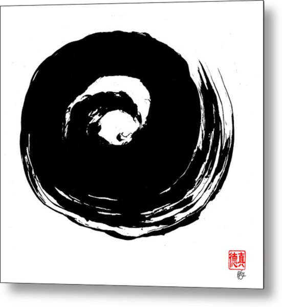 Zen Circle Wave Metal Print