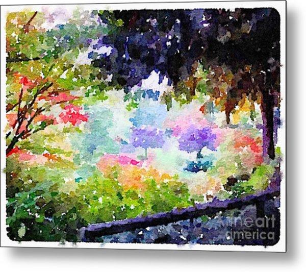 Zen Garden With Purple Flowering Trees Metal Print