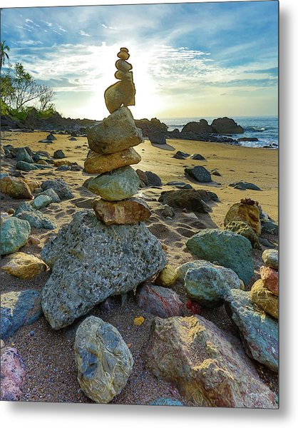 Zen Rock Balance Metal Print