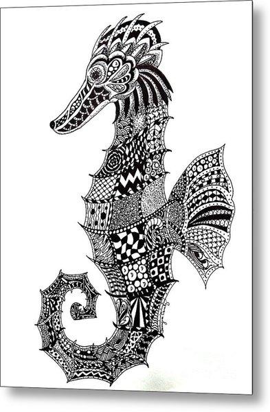 Zen Seahorse Metal Print