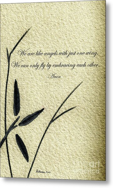 Zen Sumi 4d Antique Motivational Flower Ink On Watercolor Paper By Ricardos Metal Print