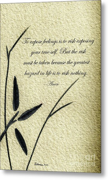 Zen Sumi 4m Antique Motivational Flower Ink On Watercolor Paper By Ricardos Metal Print