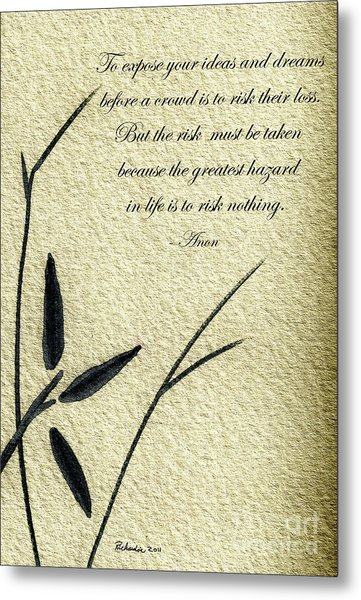 Zen Sumi 4n Antique Motivational Flower Ink On Watercolor Paper By Ricardos Metal Print