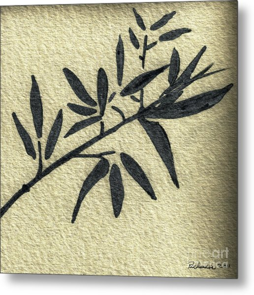 Zen Sumi Antique Botanical 4a Ink On Fine Art Watercolor Paper By Ricardos Metal Print