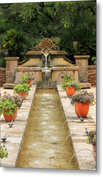 Zen Water Feature Waterfall Metal Print
